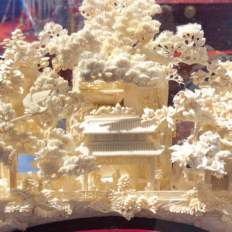 Ivory is sought after because it is a source material for carving. This is mammoth ivory I saw in the Guangzhou airport in China.