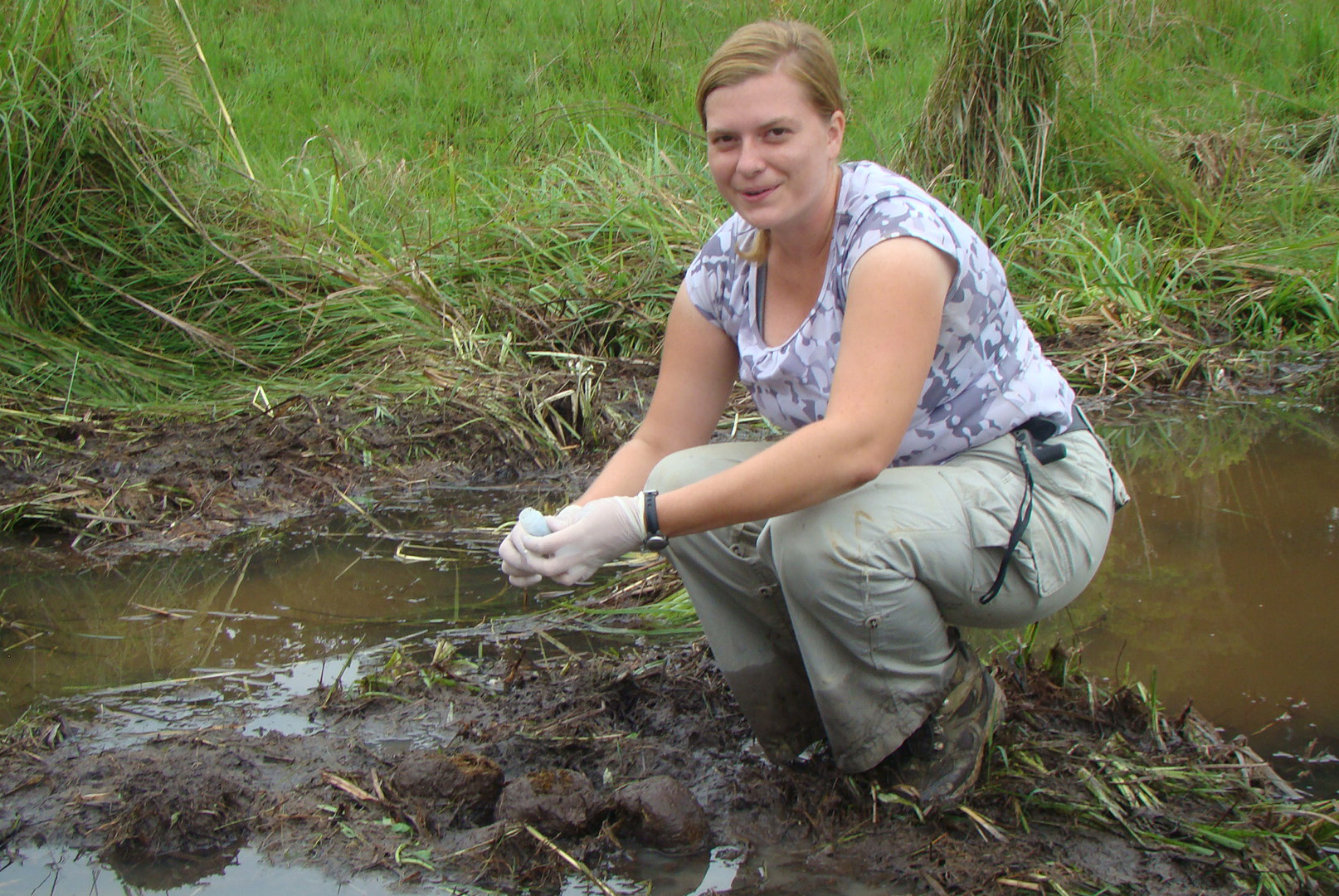Scientist collecting dung