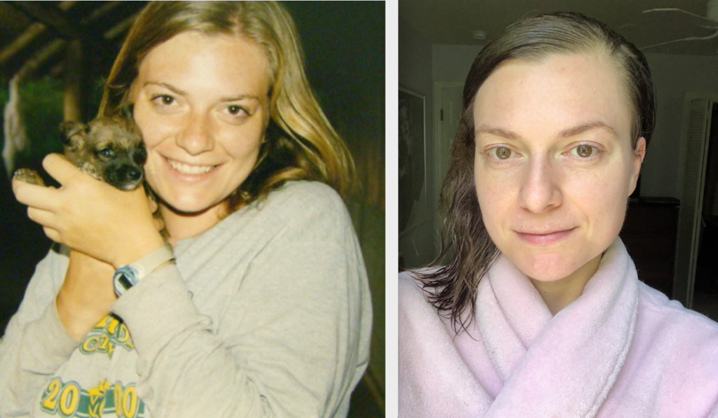 Me at 23 and 38. I make sure to invest in good anti-aging skincare.