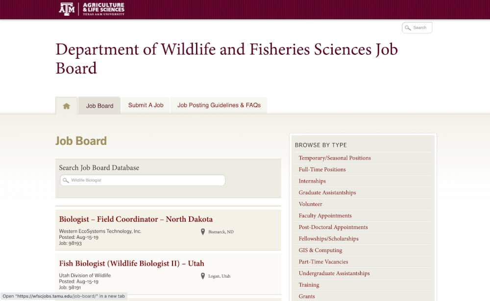 Job Board from Department of Wildlife and Fisheries