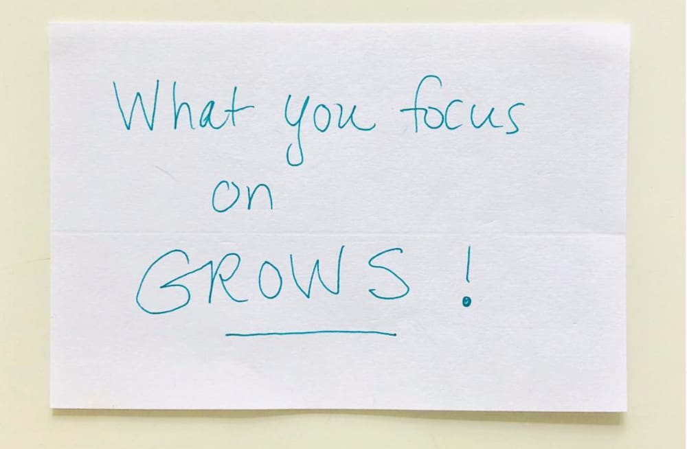 An image that says What you focus on Grows