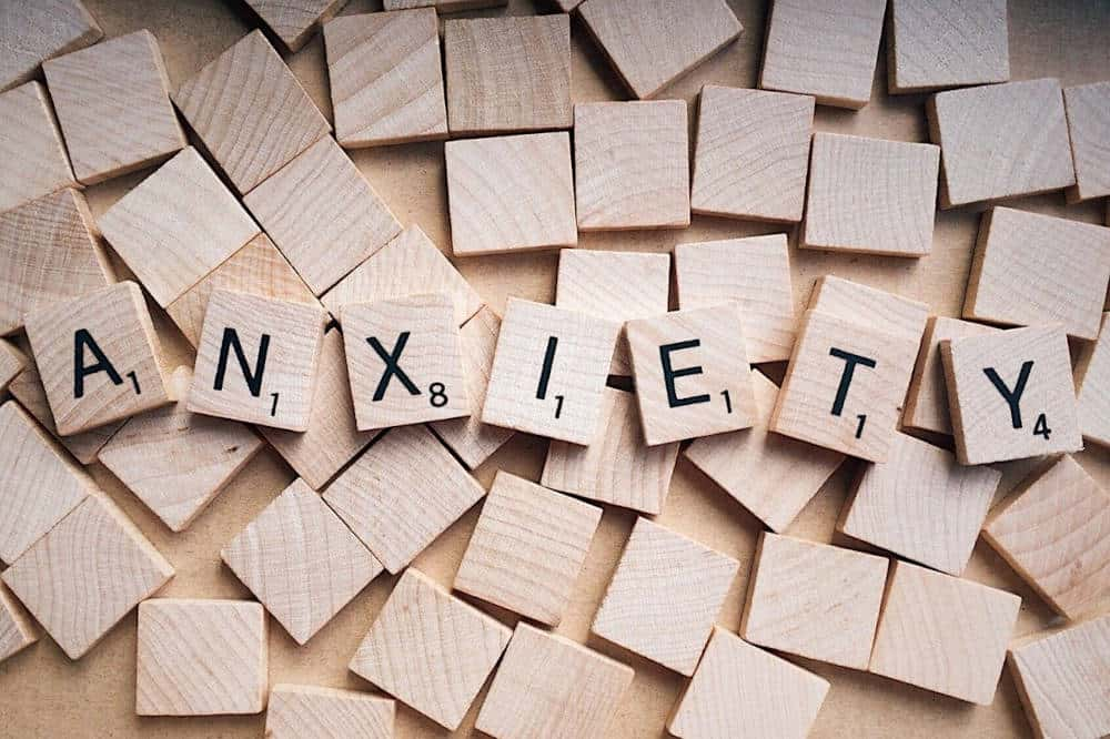 A scrabble forming the word anxiety