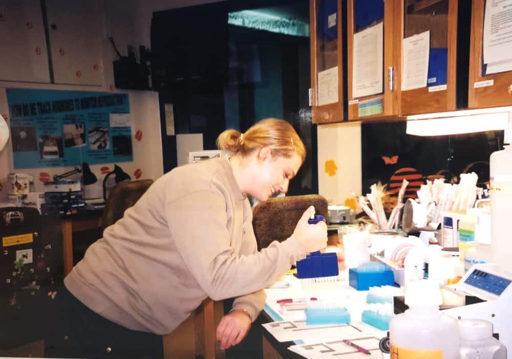 wildlife biologist in lab
