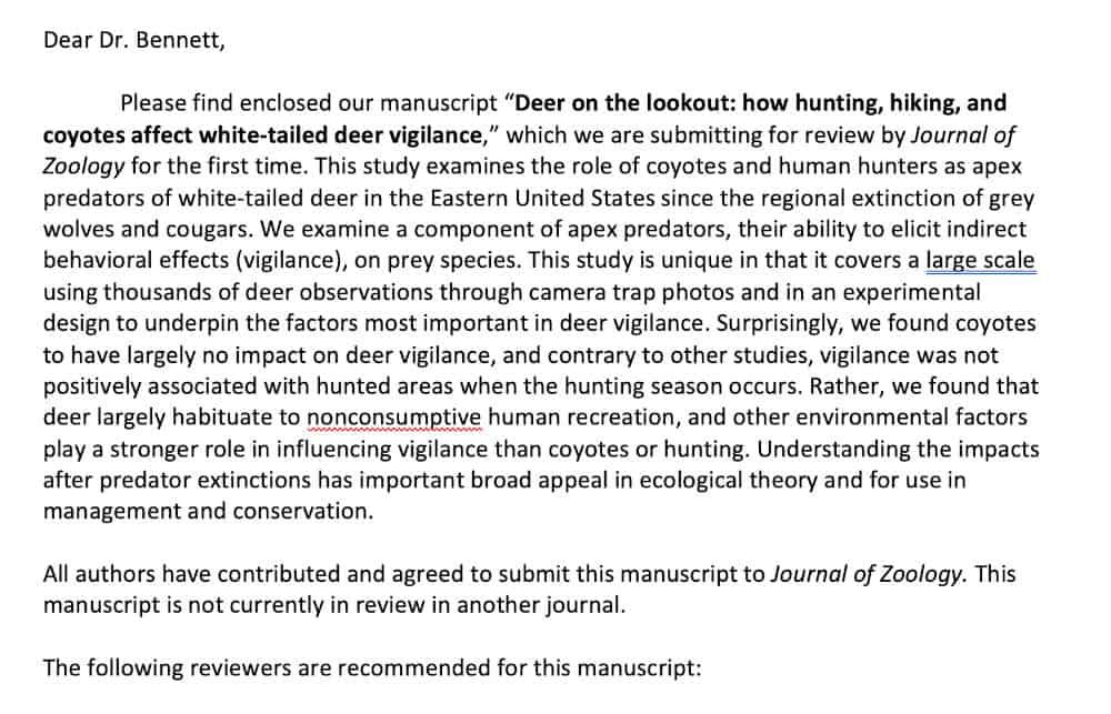 cover letter for scientific paper