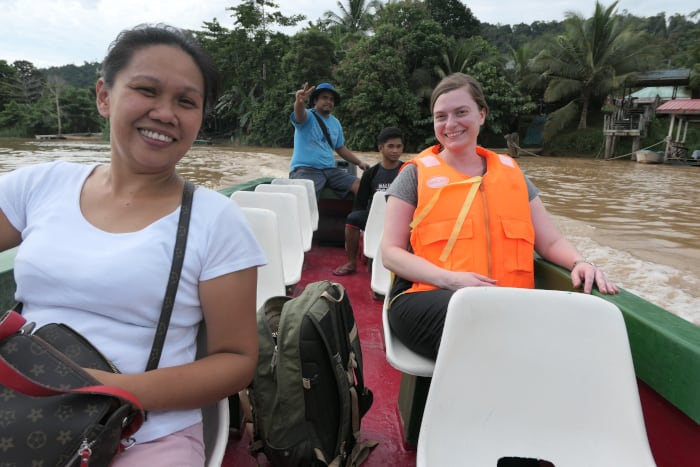Ready for our river cruise on the Kinabatangan River.