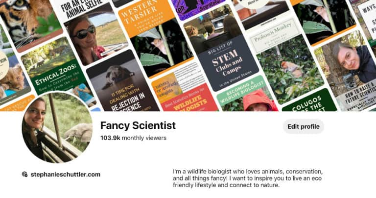 I love using Pinterest for science communication and conservation. It's a great way to reach new audiences. I get over 100,000 views each month.