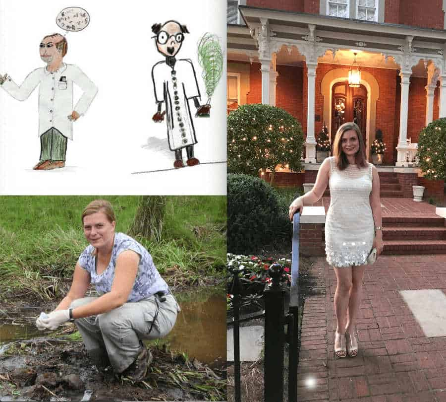 A collage of a cartoon scientist and 2 women scientist.