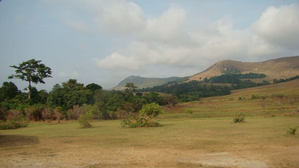 View of Lope National Park with hills