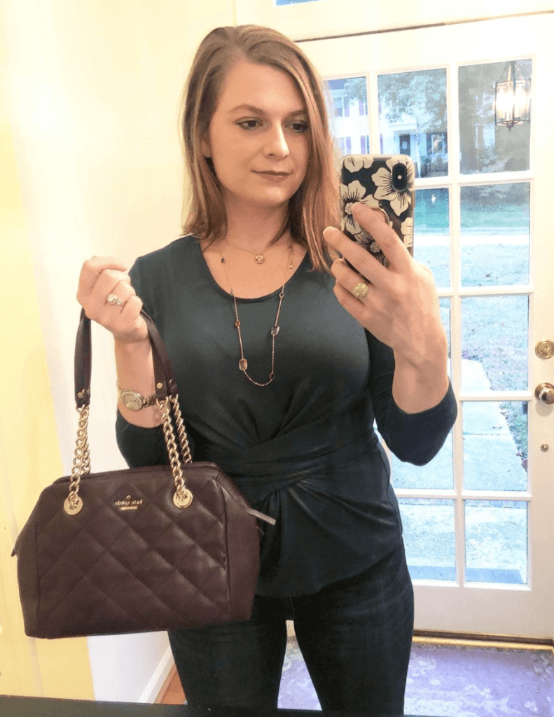 One of my favorite holiday tips is buying secondhand. Consignment handbags are a great gift option. I got both of my Kate Spade purses from the Real Real. This top is from the sustainable fashion company Amour Vert.